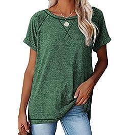 Acelitt Women Summer Crewneck Short Sleeve Lightweight Casual T Shirt Blouses Tops