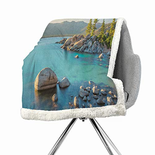 Khakihome Lake Blanket Small Quilt 60 by 32 Inch for Bed, Couch, Sofa, Chair Blue GreyPastoral Spring Time Scenery in Provincial Countryside Lake Beach Shallow Water Theme