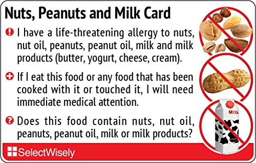 Nuts, Peanuts and Milk Allergy Translation Card - Translated in English or any of 17 languages by SelectWisely