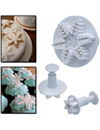 CheckOut 3 Pcs Snowflake Fondant Cake Cookie Plunger Frozen Cake Cutters USA SHIPPING cheapest