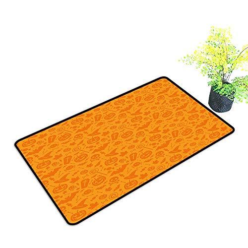 gmnalahome Super Absorbs Mud Doormat Traditi al Halloween Themed Objects Celebrati Day Orange No Odor Durable Anti-Slip W35 x H23 INCH -