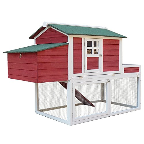 PawHut 63quot Wooden Backyard Chicken Coop with Garden Box Run Area Nesting Box