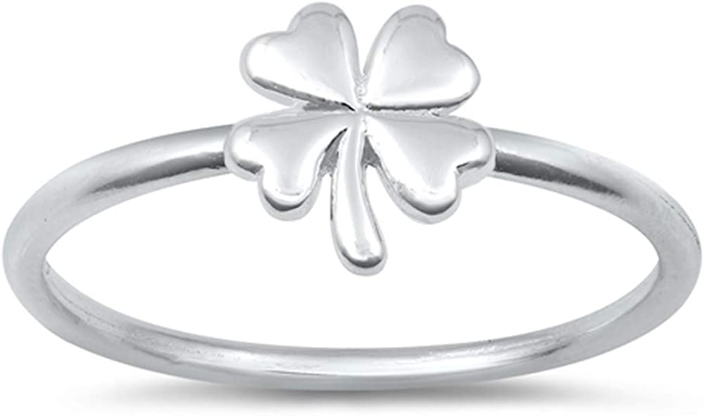 Good Luck Four Leaf Clover Nature Ring New .925 Sterling Silver Band Sizes 2-10