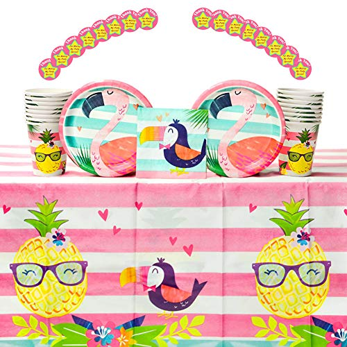 - Pineapple n' Friends Birthday Party Supplies Pack for 16 Guests: Stickers, Dessert Plates, Beverage Napkins, Table Cover, and Cups