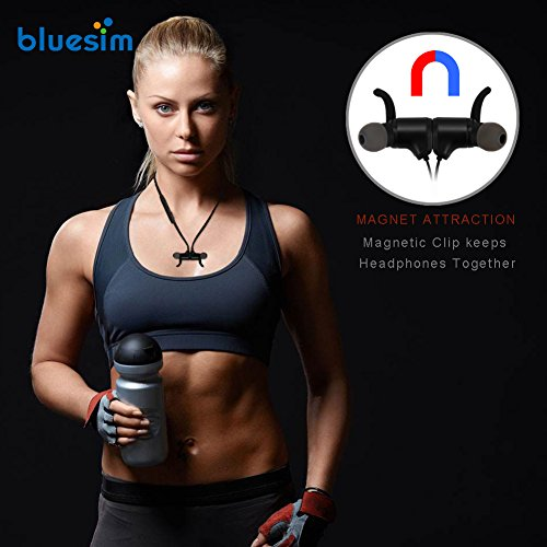Bluesim Bluetooth Headphones with Microphone - 4.1 Wireless Bluetooth Earbuds for Running, Super Magnetic Neckband Earphones Noise Cancelling Bluetooth Headphones by Bluesim (Image #6)