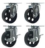4 All Steel Swivel Plate Caster Wheels w Brake Lock Heavy Duty High-gauge Steel (4'' Combo 2x swivel with brake, 2x swivel)