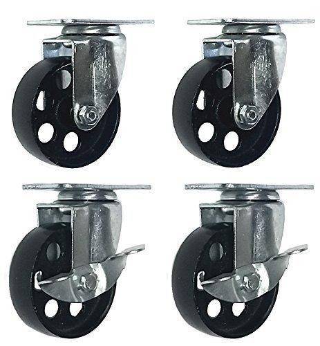 4 All Steel Swivel Plate Caster Wheels w Brake Lock Heavy Duty High-gauge Steel (4' Combo 2x swivel with brake, 2x swivel)