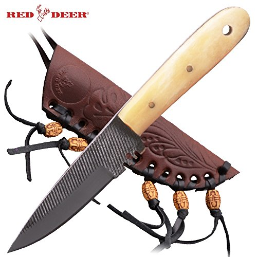 Red Deer Patch Knife High Carbon Steel Old File Knife with Leather Sheath (Bone Handle) Medium