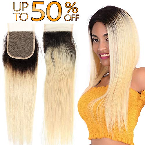 Ombre Root 1b/613 Platinum Blonde Brazilian Human Hair 613 4x4 Swiss Lace Closure Free Part Peruvian Silky Straight Cheap Indian Malaysian Virgin Remy Hair Hand Tied Top Closures One Piece 10 inch (Best Bundles On Aliexpress 2019)