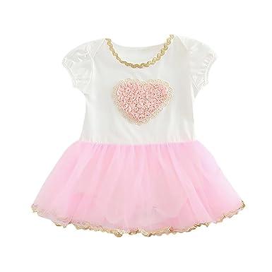 6d6cae932 Jarsh Infant Baby Girls Love Heart Flowers Lace Ruffle Net Yarn Short  Sleeve Dress (6M