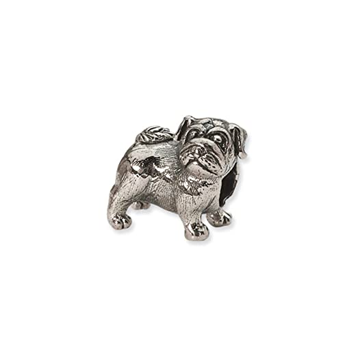Amazoncom Sterling Silver Pug Bead Charm Jewelry