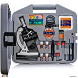 Play22 Microscope for Kids 50 PCS - 120X - 1200X Microscope Slides Specimens - Student Beginner Metal Body Toy Microscope Kit in A Carrying Box - Educational Science Lab Toy Best Gift – Original
