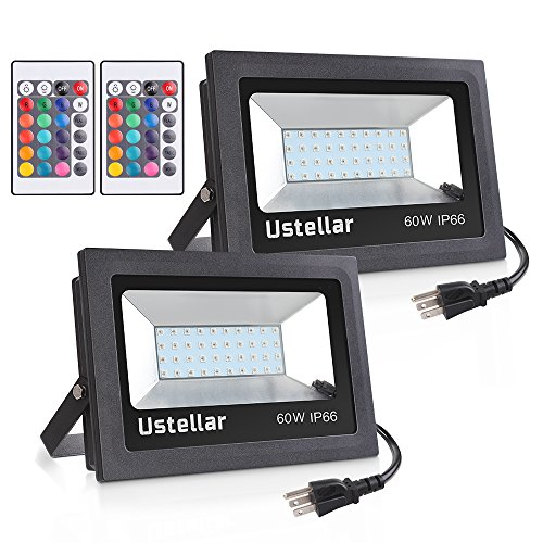 Ustellar 2 Pack 60W RGB LED Flood Lights, Outdoor Color Changing Floodlight With Remote Control, IP66 Waterproof 16 Colors 4 Modes Dimmable Wall Washer Light, Stage Lighting with US (2 Light Outdoor Flood Light)
