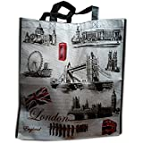 Graphic London Icons Carry Bag / Tote Bag Souvenir! Shopping bag, reusable Souvenir / Speicher / Memoria! Stunning London Carry Bag / Tote Bag! Collectible and Fun! Fourre-Tout / Tragetasche / Bolso de Mano!