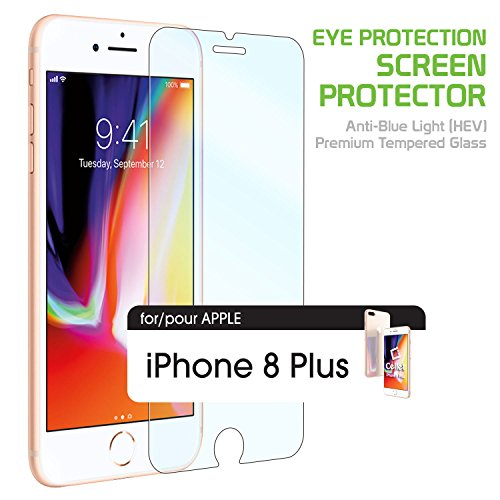 iPhone 8 Plus Eye Protection Screen Protector, Anti-Blue Light (HEV) Premium Tempered Glass Screen Protector for Apple iPhone 8 Plus by Cellet