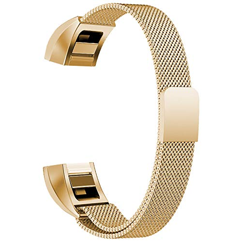 Oitom for Fitbit Alta HR Accessory Bands and for Fitbit alta Replacement Band, (2 Size) Large 6.7-9.3 Small 5.1-6.7 (8 Color) Silver Black Rose Gold Pink Blue Brown Rainbow(Small 5.1-6.7 Gold)