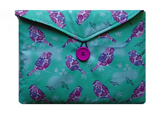 Mint and Plum Birds Print Kindle Fire HD8 Bag for Amazon Kindle HD8 Tablet by miss pretty london