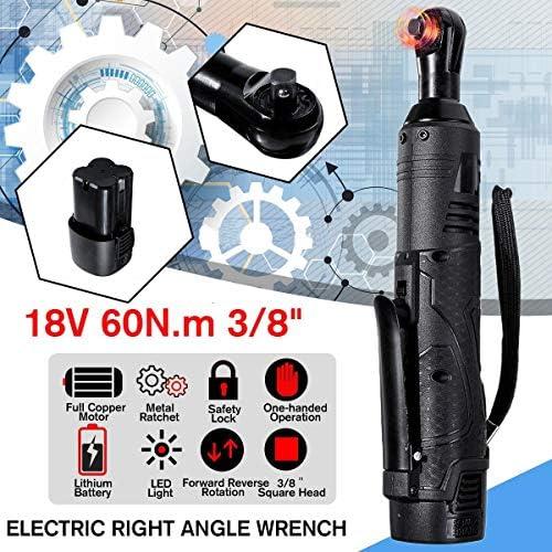 電動レンチキット、18V 3/8コードレスラチェット直角充電式足場トルクラチェット、バッテリーLEDライト付き