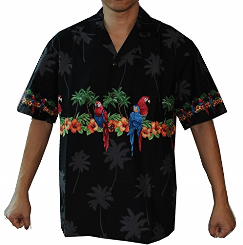Alohawears Clothing Company Made in Hawaii ! Mens Parrots Hibiscus Hawaiian Luau Cruise Aloha Shirt