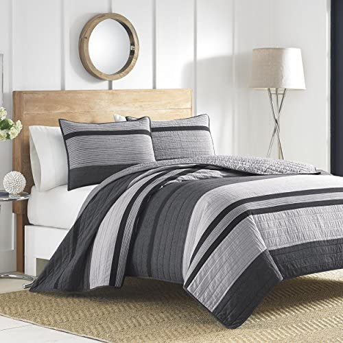 Nautica Home | Vessey Collection | 100% Cotton Reversible and Light-Weight Quilt Bedspread Pre-Washed for Extra Comfort Easy Care Machine Washable Full/Queen Grey