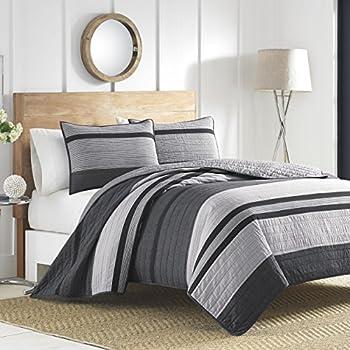 Nautica 217148 Vessey Cotton Pieced Quilt, King, Gray