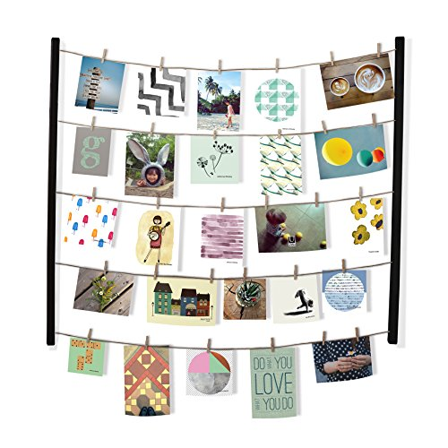 Umbra Hangit Photo Display - DIY Picture Frames Collage Set Includes Picture Hanging Wire Twine Cords, Natural Wood Wall Mounts and Clothespin Clips for Hanging Photos, Prints and Artwork (Clothespin Place Card Holders)