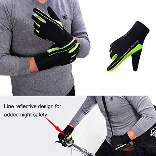 MEYUEWAL Cycling Gloves, Touch Screen Gloves, Waterproof Windproof Gloves, Great for Cycling, Running, Skiing, Mountaineering, Riding or More, Men & Women Warm Gloves Green X-Large (Pair)