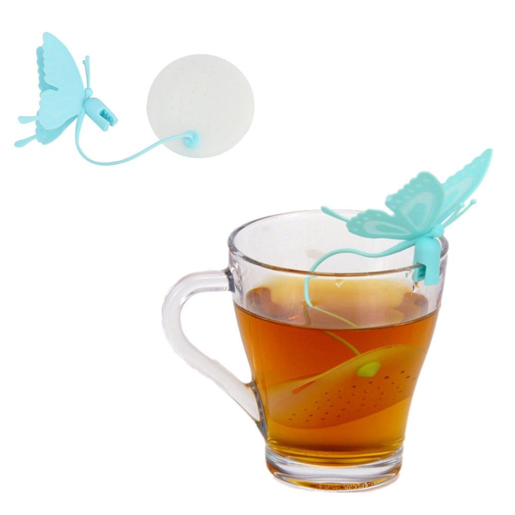 Transer Silicone Butterfly Tea Infuser Tea Strainers for Steeping Loose Leaf Tea - Safe, Easy to Use, Easy to Clean Tea Steeper Baskets (Blue)