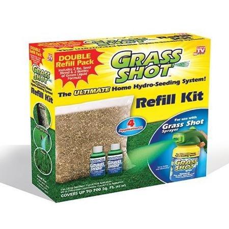 Grass Shot Refill Kit (Covers 700 sq. ft.) – 2 lbs. Seed Blend & 2 Bottles of Green Liquid Formula
