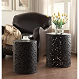 Office Star Products Contemporary 2-piece Round Metal Accent Tables, Black/Brown