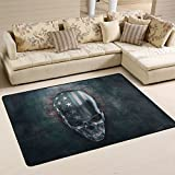 SAVSV 6' x 4' Area Rug Carpet Doormat Lightweight Printed 3D Metal Skull With USA Flag Easy to Clean For Living Room Bedroom