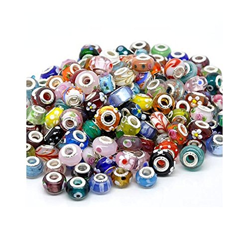 (SEXY SPARKLES Pack of Ten (10) Assorted ful 100% Pure Murano Glass Bead Charms - Fits European Snake Chain Charm Bracelet )
