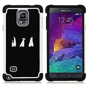 """Samsung Galaxy Note 4 IV / SM-N910 - 3 en 1 impreso colorido de Altas Prestaciones PC Funda chaqueta Negro cubierta gel silicona suave (Oscuridad"""")"""