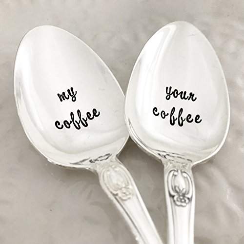 Set of spoons, my coffee / your coffee. Hand stamped vintage set, various floral