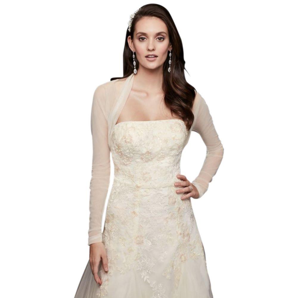 David's Bridal Long Sleeve Tulle Shrug Style OW2108, Ivory, L
