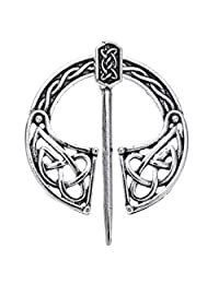 Baoblaze Medieval Viking Norse Brooch Hollow Out Cloak Silk Shawl Scarf Lapel Pin