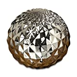 Whole House Worlds The Crosby Street Faceted Silver Ball, Disco Style Globe, Sphere, Bowl Filler or Free Standing Art, 6 Inches in Diameter, Glazed Ceramic, By