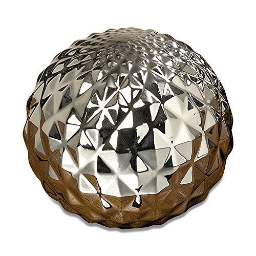 WHW Whole House Worlds Crosby Street Faceted Silver Ball, Disco Style Globe, Sphere, Bowl Filler or Free Standing Art, 4 Inches in Diameter, Glazed Ceramic -