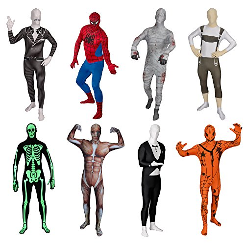 [FUNSUIT Gangster Bodysuit Suit Halloween Costume Size S / M / L / XL / XXL [L]] (Spiderman Bodysuit)