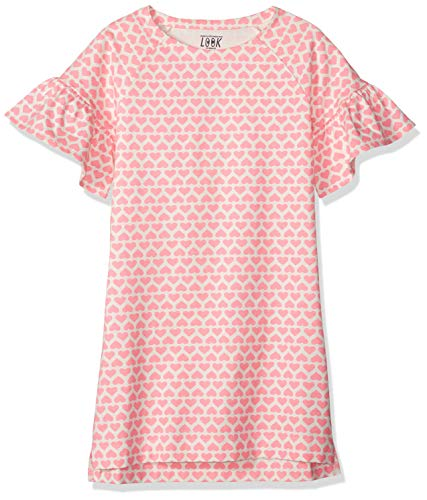 LOOK by Crewcuts Girls' Flare Sleeve Dress, Pink Heart Stack, XXX-Large (16)