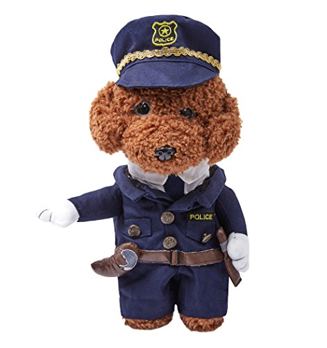 OSPet Funny Pet Hooded Policeman Costume for Small Dogs & Cats Party Cosplay -