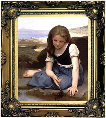 Historic Art Gallery The The Crab 1869 by William Adolph Bouguereau Framed Canvas Print, Size 8x10, Gold