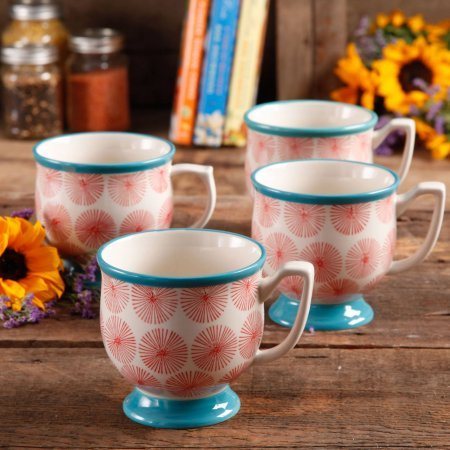 The Pioneer Woman Flea Market Happiness Decorated Mugs, Red & Turquoise, Set of 4