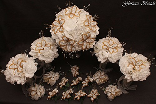 - White and Gold Beaded Lily Wedding Flower 17 piece set with White Roses ~ Unique French beaded flowers and beaded sprays. Includes Bouquets Corsages and Boutonnieres