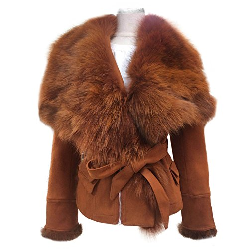 She'sModa Real Fox Fur Collar Coat With Belt Slim Fit Women's Winter Suede Caramel Leather Jackets (Fur Suede Coat)