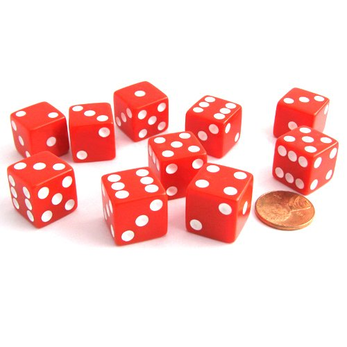 Set of 10 Six Sided D6 16mm Standard Dice Red by Koplow Games