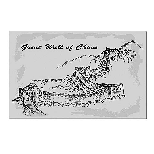 YOLIYANA Great Wall of China Durable Door Mat,Asian Architecture on Northern Mountain War Ruins Sketchy Artsy Illustration for Home Office,15.7