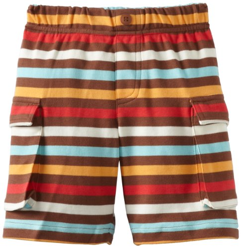 Zutano Little Boys' Five Color Stripe Cargo Short, Chocolate, 3T