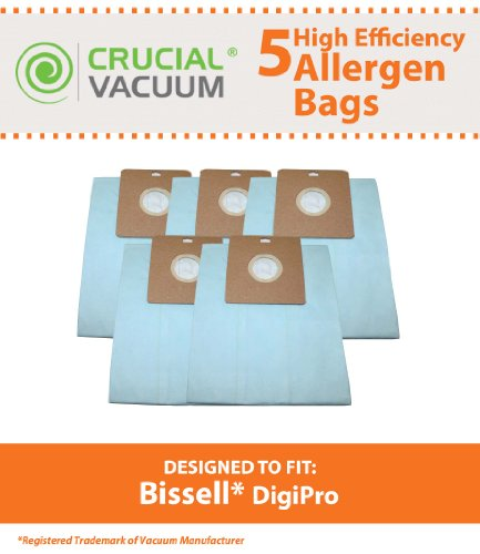 5 Bissell DigiPro Canister Vacuum Bags; Fits Bissell DigiPro Canister Vacuum Model # 6900; Compare to Part # 32115; Designed & Engineered by Crucial Vacuum