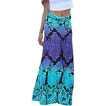 AlvaQ Women Coral Print Long Maxi Skirt (8 Colors and Design Print)